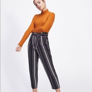 Miss Selfridge Black Striped Paperbag Trousers 6